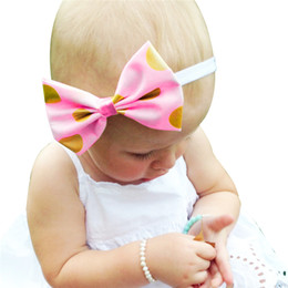 "Wholesale Hot Shiny Girls - Baby Girls Gold and Pink Headbands Kids Hot stamping Shiny Bowknot Hairbands baby headbands children hair accessories Headwear 15"" KHA142"