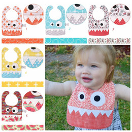 Wholesale Cute Animals Big Eyes - 15 styles new fashion cotton saliva towel Big Eye Monster Bibs with Cute Teeth Design baby burp cloth Children's accessories