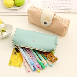 Wholesale Bulk Stationery - Wholesale-Small fresh beard PU bags bulk student stationery simple snap pencil bag pencil case