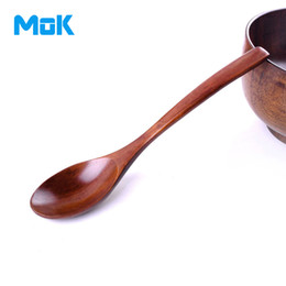 Wholesale Zakka Spoon - Wholesale- 2 pieces lot High Quality Wooden Spoons Japanese Zakka Style Fine Wooden Ladles Good Quality Wood Long Spoons Fine Smooth Ladles
