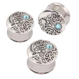 Wholesale Double Flare Ear Piercing Flesh - Stainless steel double flare ear plug gauges flesh tunnel plugs body piercing jewelry Moon Star Hollow Ear Tunnel