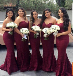 Wholesale Sweetheart Floor Mermaid - Elegant Burgundy Sweetheart Lace Mermaid Cheap Long Bridesmaid Dresses 2017 Wine Maid of Honor Wedding Guest Dress Prom Party Gowns