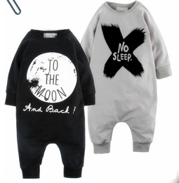 Wholesale Long Sleep Baby Suits - 2016 INS New Baby romper suit Cotton long sleeve letter NO SLEEP Printing rompers boys girls costumes Toddlers bodysuits tights sets
