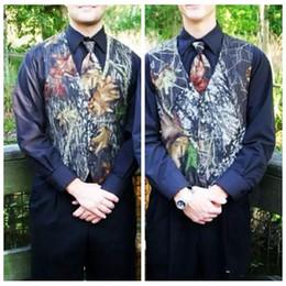 Wholesale Satin Groom Vests - New Fashion Camouflage Satin Mossy Oak Groom Vest Camo Vests Customized Camo Wedding Evening Prom Vest For Man Cheap Sale