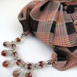 Wholesale Tartan Plaid China - Newest Cheap Fashion Ladies Scarf Direct Factory Beads Neckerchief Women Punk Collar Necklace headband Scarves Tippet From China