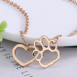 Wholesale Wholesale Tins For Dogs - Fashion Linked Heart and Hollow Dog Paw Claw Pendant Charms Necklaces Gold Silver Pet Dog Animal Jewelry Gift for Dog Owners