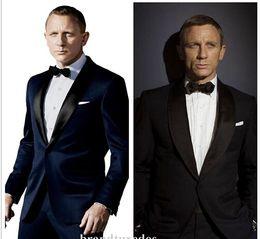 Wholesale Dark Gray Suit Mens - 2016 James Bond dark Blue Groom Tuxedos Jacket+Pant+Tie Mens Fashion Tux Tuxedos Boyfriend Blazer Bridegroom Mens Clothing Speech
