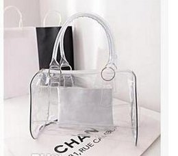 Wholesale Hobo Wholesalers - Whole sale Fashion women candy color transparent bag Clear beach bags PVC leather bag shopping bag Handbag Tote Purse PVC Plastic 9 colors