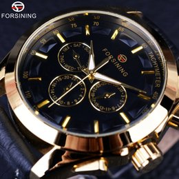 Wholesale Genuine Leather Automatic Men Watch - orsining 2017 Retro Fashion Designer Three Dial Decoration Genuine Leather Golden Men Luxury Brand Automatic Mechanical Watches