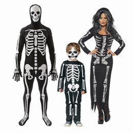 Wholesale Cool Dresses For Women - Cosplay Cool Living Dead Skeleton Costume Black Skeleton Dress Ghost Costume Stage Uniform Halloween Costumes for Women men kids
