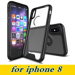 Wholesale Iphone Armour - For IPhone 8 Acrylic TPU Transparent Cell Phone Case Shockproof Protection Soft Frame Armour Cover for IPhone 6s 6plus 7 7plus Samsung S8