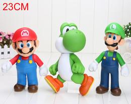 "Wholesale Super Mario Action Figures Collection - Super Mario Bros figure Yoshi Mario Luigi PVC Action Figure Collection Model Toy Doll 9"" 23cm"