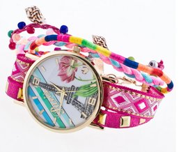 Wholesale Snake Paintings - Cute Conch Dangle Beads Fashion Ladies Braided Wide Band Roped Watch Unique Women Eiffel Tower Painting Gold Dial Snake Chain Wristwath Gift