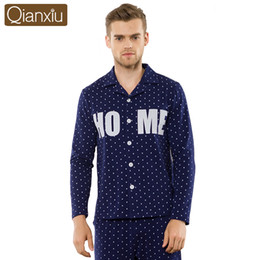 Wholesale Polka Dot Shirts For Men - Wholesale-Qianxiu Cardigan Pajama Sets For Men Knitted underwear men European Home dress Plus size suit
