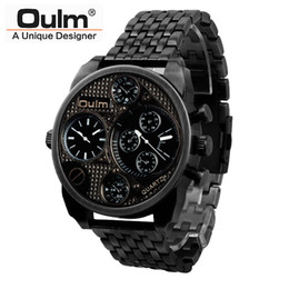 Wholesale Antique Gold Clock - 2016 Oulm Luxury Brand Men Full Steel Watch Mens Sport Quartz Watches Antique Male Casual Clock Military Watch Relogio Masculino