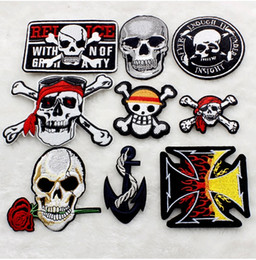 Wholesale Pcs Garment Accessories - WL iron on mixed 100 pcs skeleton Embroidered patch sew on Motif Applique garment embroidery cartoon patch DIY accessory