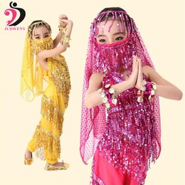 Wholesale Indian Dance Costumes For Kids - 4 Colors Belly Dance Costume Set Kids Child Belly Dancing Clothes For Girl Children Wear Indian Dress Handmade