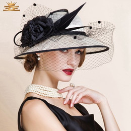 Wholesale Cowboy Hats Ribbon - Women Church Hats Women Dress Hats Derby Church Hats 100% Polyester Satin Ribbons Two Colors Available