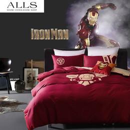 Wholesale Duvet Boy - Wholesale-Super heroes bedding set Iron man night-luminous duvet cover queen size 100% cotton sheet for boys adult new 2016