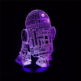 Canada Nouvelle action Figure 7colors Robot R2D2 3D Visual LED Night Lights pour enfants Amis Star War Fans as Bedroom Table Desk Lamp supplier war action Offre