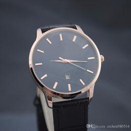 Wholesale Watch Logo Calendar - Good quality popular Top Brand rmani Men's Leather strap Date Calendar quartz wrist Watch with logo 3694-2