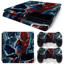 Wholesale Front Stickers - Cool Spider man Front & Back PS4 Slim Vinyl Skin Sticker Console Skin + 2 PCS Controller Cover Decal Skins For PS4 Slim