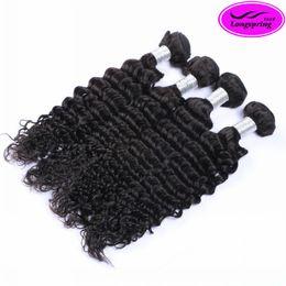 Wholesale Deep Wave Human Hair 5pcs - Clearance Sale!!! Peruvian Hair Deep Wave 5pcs lot Natural Black 12-30inch Hair Extensions 100% Human Hair Weaves Dyeable