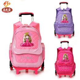 Wholesale Girls School Bags Trolley - Hot Sales Removable Children School Bags with 3 Wheels Child Climb Stair Trolley Backpack Kids Wheeled Bags Boys Girls Bookbag
