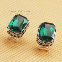 Wholesale Earring Rigant - Italina Rigant Free Shipping fashion jewelry Earring 18k real white gold plated Crystal Earrings green Crystal Earrings gift