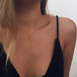 simple necklaces for indian women Promo Codes - Sexy Beads Chain Lariat Choker Necklaces Long multilayer Water Drop Simple party Statement Jewelry Choker for Women collier femme