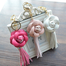 Wholesale Tassel Mobile - Charm Leather Camellia Flower Key Chain Tassel Flower Key Chain Women KeyRings Female Bags Car Mobile Phone Pendant Keychains B787Q