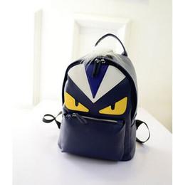 Wholesale Hip Bucket - 2017 new fashion backpack shoulder bag men and women backpack little monster travel backpack schoolbag pu leather