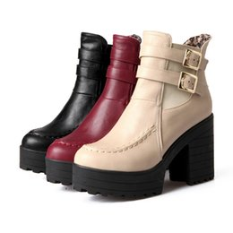 Wholesale Thick Sole High Heel Boots - Luxury Women Thick Soled Ankle Martin Boots Fashion Autumn Winter Single Short Boots Female High-heeled Shoes 34-39