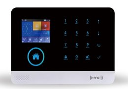 Wholesale Intruder Burglar Alarms - WFIFI+GSM+RFID+APP TOUCH BURGLAR Security Alarm System Alarm Host with LCD Call for Intruder Burglar 4 Wired And 99 Wireless Defense Zones