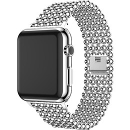 Wholesale Watch Band Beads - Watchband for Apple Watch 42mm 38mm Band Gold New Luxury Stainless Steel Beads for Iwatch 2 3 Series Strap Steel Bracelet Belt