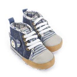 Wholesale Toddler Boy Crochet Pattern - Baby Shoes Boys Bear Pattern Denim Crib Shoes Infant Soft Sole High Toddler Shoes shoe rack shoes