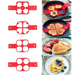 Wholesale Mould Cavity - Non Stick Pan Flip Pancake Maker 4 Cavity Silicone Pancake Egg Molds Breakfast Easy Pancake Egg Maker Heart Flower Round Shape c208
