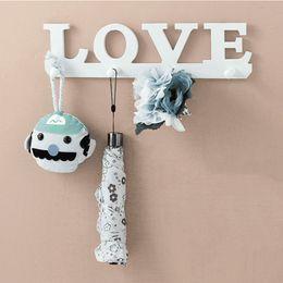 Wholesale Home Key Holder - Wholesale- White LOVE Shape 4 Hooks Coat Hat Robe Key Holder Rack Wall Storage Hanger Home Room Bathroom Door Decor