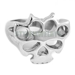 Wholesale Skull Rings Box - Free shipping! Silver Boxing Glove Skull Ring Classic Stainless Steel Jewelry Fashion Motor Biker Ring Men Women Ring SWR0417B