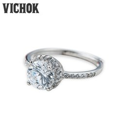 Wholesale Couple Rings Stone - 925 Sterling Silver Ring 2017 Platinum & Rose Gold Color Birthday Stone Gifts For Women Fine Jewelry Elegant Ladies Statement Rings VICHOK