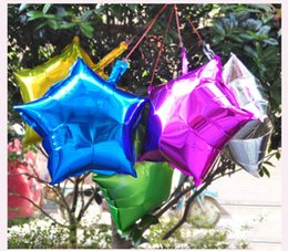 Wholesale Balloon Shorts - 7pcs Lot 10'' Inch 18'' Inch Five-pointed Star Shaped Foil Balloons Helium Metallic Pure Color Balloons Wedding Birthday Party Decoration