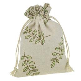 Wholesale Burlap Sacks - 10x14cm Handmade Jewelry Bags Leaf Printing Cotton Linen drawstring Package bags Sack Jewelry Pouches wedding bomboniera Gift burlap bags