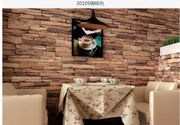 Wholesale New Rolling Stones - New 10 meter lot 3D Luxury Wood Blocks Effect Brown Stone Brick 10M Vinyl Wallpaper Roll Living Room Background Wall Decor Art Wall Paper.