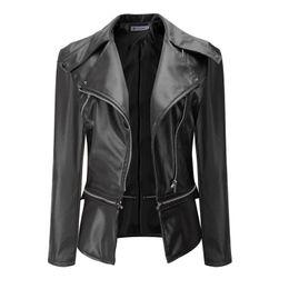 Wholesale Long Thin Leather Coat Women - Women Leather Jacket Fashion Short Thin Pu Leather Coat Zipper Autumn Tops Coat Black Outwear Jackets Motorcycle Jacket Lapels