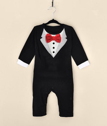 Wholesale Boy White Tuxedo Suit Wedding - Little Gentleman Conjoined Clothes Men Baby Boy Wedding Christening Formal Bow Smart Suit Outfit Tuxedo Jumpsuit Boys Wedding Suits