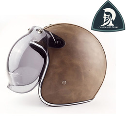 Wholesale Helmets Vintage - Classic Handmade Leather Motorcycle Open Face Helmets With Clear Bubble Len Brown Leather Vintage 3 4 Helmets China XXL DOT ECE