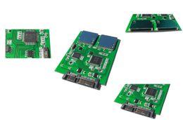 Wholesale Dual Sdhc - SATA 7+15Pin 22-pin male to Dual SD SDHC MMC Card 2x SD TO SATA Adapter JM20330 chipset