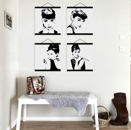 Wholesale Audrey Hepburn Canvas Wall Art - Mild Art Celebrity Abstract Audrey Hepburn Set Black White Pop Movie Star Portrait Vintage Poster Wall Decor Custom DIY Gift Canvas Painting