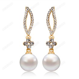 Wholesale Gold Willow - Brand New Cason Women fashion jewelry Willow plum imitation pearl stud earrings white colour drop shipping EJ-0002
