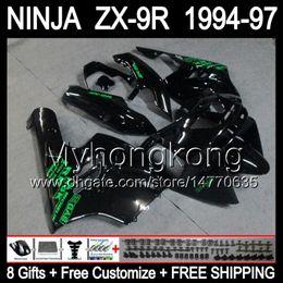Wholesale Zx9r 1994 Customized - 8Gifts+Body ALL Black For KAWASAKI NINJA ZX-9R 94-97 Y15113 ZX9R 1994 1995 1996 1997 ZX 9R 9 R 94 95 96 97 Gloss black Customize Fairing